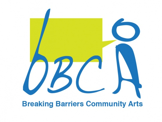 Breaking Barriers Community Arts logo in blue and green
