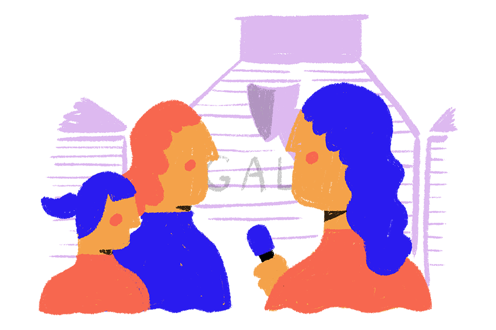 Illustration of people being interviewed by a person with a microphone