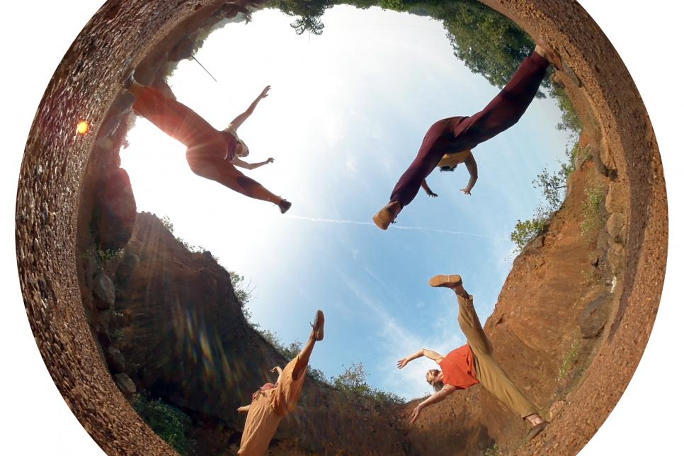 360 image of dancers in a quarry in India