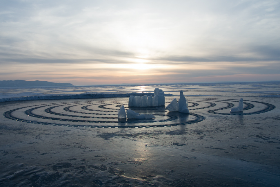Ice Labyrinth on a frozen lake at Spring Equinox