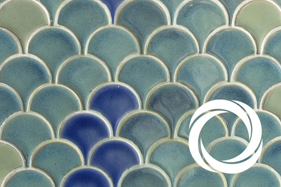 Abstract blue tiled image with Arts Council of Wales logo