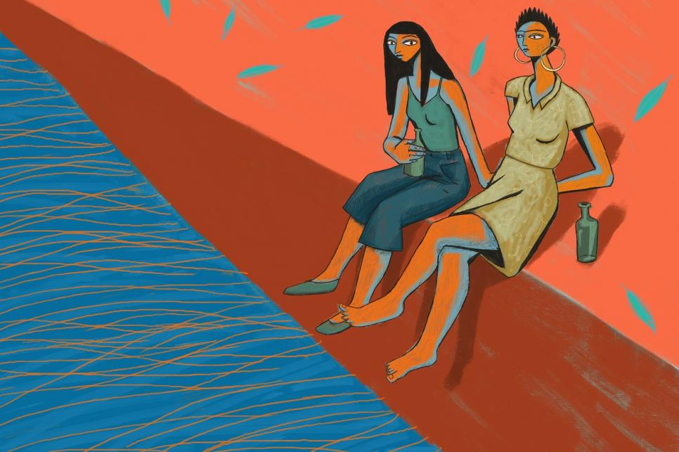 animation showing two women sitting dipping their feet in water