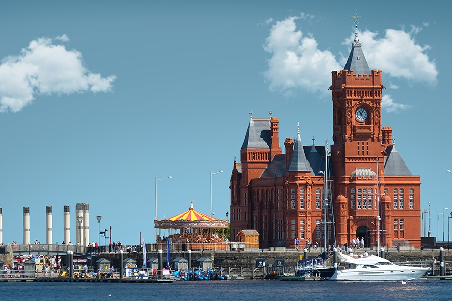 Picture of Cardiff Bay taken from the Water, showing it without the Wales Millenium Centrer