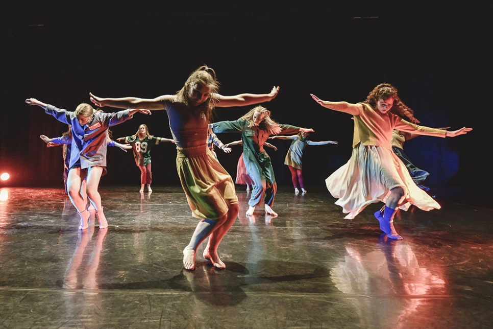 National Dance Company Wales Dancers on stage in costume