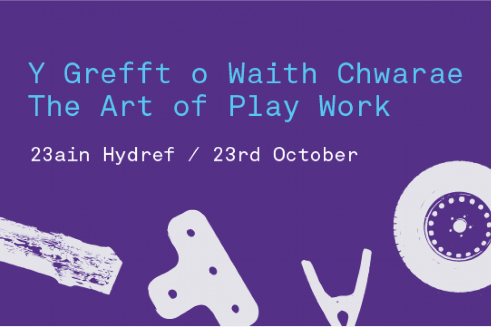 The Art of Play Work poster in purple and blue and white