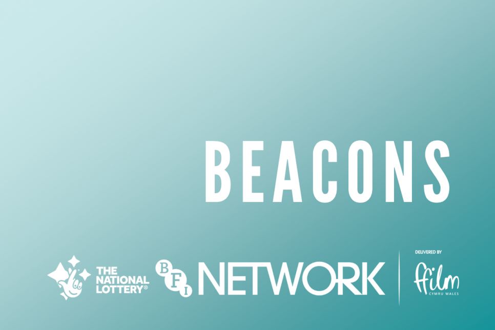 Beacons logo in white against blue background