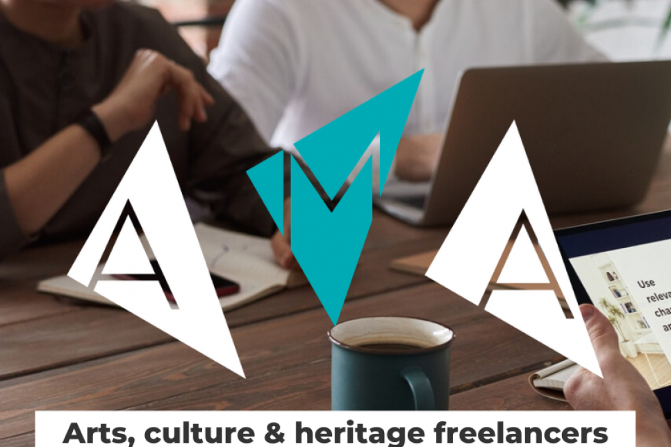 Freelancers working on laptops overlaid with the AMA logo of three triangles with a letter in each.