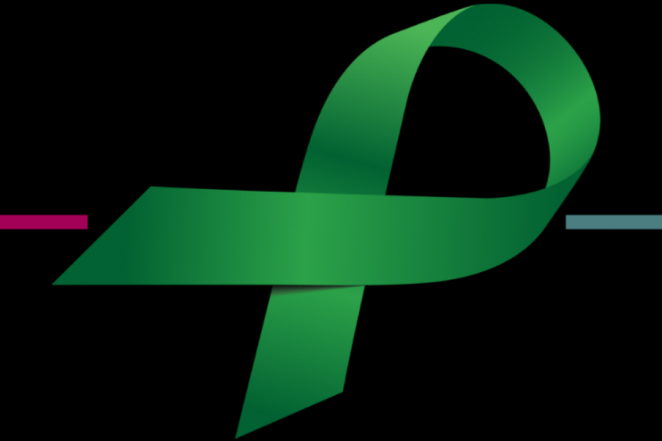 Green ribbon on a black background
